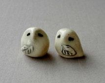 Snowy Owl Miniature Terrarium Figurines - Pottery Owls - Ceramic Snowy Owls - Sculpted Animals - pocket  owl - Set of Two (studio choice)