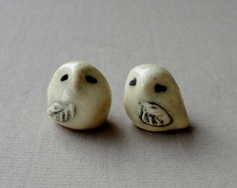 Snowy Owl Miniature Terrarium Figurines - Pottery Owls - Ceramic Snowy Owls - Sculpted Animals - pocket  owl - Set of Two (studio choice)