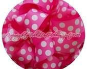 """Big Dot Ribbon 7/8"""" or 1.5"""" Your Choice 5 yards Hot Pink polka dot grosgrain ribbon- US Designer ribbon"""