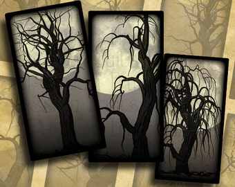 Dead Trees and Full Moons on  grey-- Halloween Digital Collage Sheet 1x2 Domino Tiles-- Instant Download