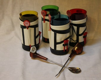 vintage golf bag cup holders with swizzle sticks and tees also golf club fork and spoon stir with dice in handle