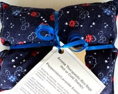 """Peppermint / Lavender Essential Oil Aroma Therapeutic Rice Pad - Hot or Cold Therapy - 6"""" wide x 7"""" long - Dark Blue Flannel"""