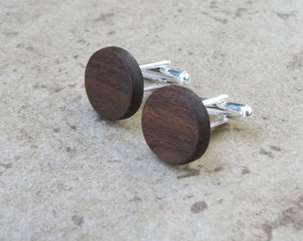 Cufflinks, Walnut Round Wood Cufflinks, Natural Wooden Cufflinks, 5th Anniversary Gift, Wedding Gift, Fathers Day Gift, Gift For Boss - 143