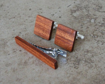 Pao Rosa Wood Cufflinks and Tie Clip Set - Great Gift For Birthdays, Wedding, Anniversaries, And Graduation - 200