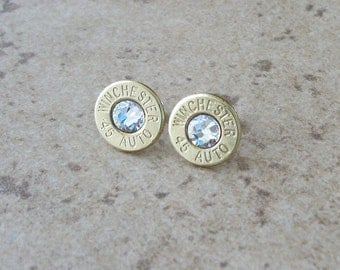 Winchester 45 Auto Bullet Earring, Brass Finish, Lightweight Thin Cut, Clear Swarovski Crystal, Surgical Steel Posts - 241