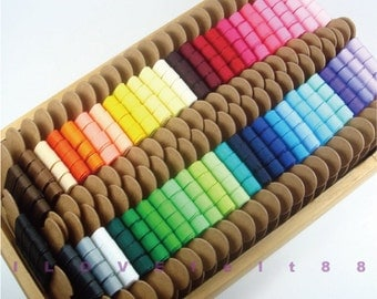 """3/8"""" Solid Color Grosgrain Ribbon / Pick your own color / 48 colors to choose from / 1 color / 5 Yards"""
