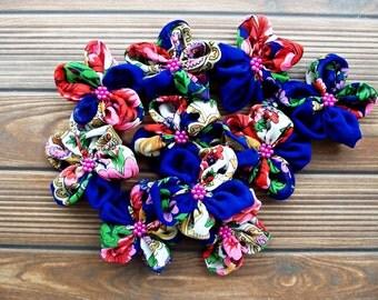 Flowered Fabric Mini Flowers Handmade Appliques Embellishments(10 pcs)