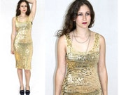 Christmas Sale New Years Vntg 90s GRUNGE Dress Gold Sequins Slinky Bodycon Dress Disco Style 1990s Dance Dress or Cover Up Womens Size XS S