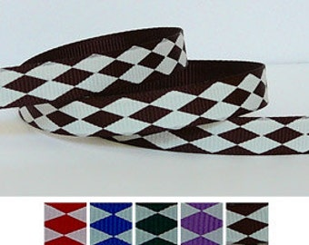 5 Yards Cappuccino Brown JESTER Pattern 3/8 Grosgrain Ribbon (other colors also available)