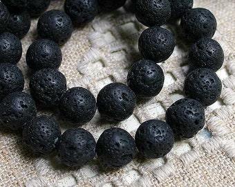 28pcs Lava Rock Natural Gemstone Beads 14mm Round 16 Inches Strand