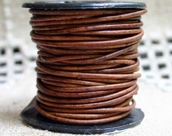 1mm Round Leather Cord Red Brown Natural Dye 2 Yards 1.83m