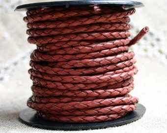 1 meter of 3mm Dull Red Braided Bolo Leather Cord