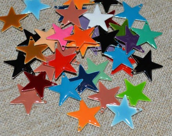 60 Charms Silver Plated Colored Epoxy 12mm Star Mixed Colors