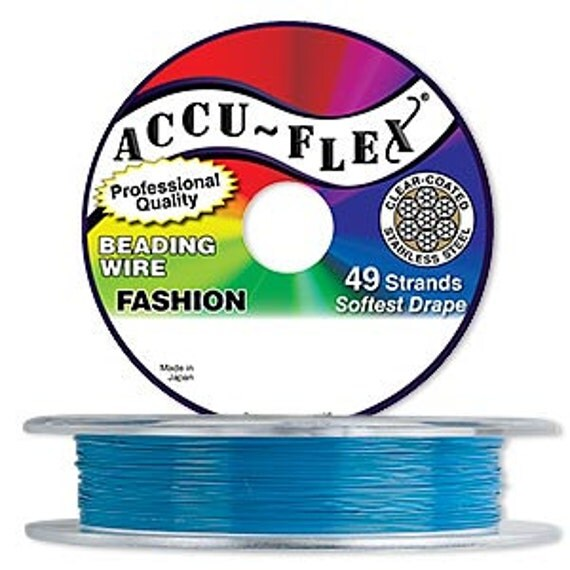 accu flex beading wire 49 strand 014 30 ft lake blue