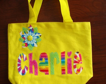 Girl's Personalized Library Tote with Flower Applique