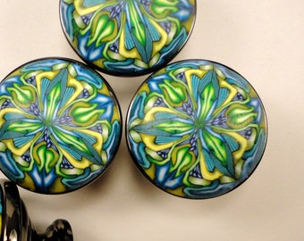 Cabinet Knobs pulls 6 Brushed Nickel handmade unique Polymer Clay bathroom knobs furniture knobs Green, Blue, Yellow Kaleidoscope
