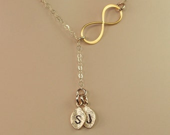 Personalized Rose Gold Infinity Lariat Necklace, Gold or Silver Available, Infinity Necklace, Hand Stamped Initials, Monogram Charms
