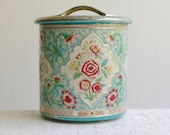 Vintage Aqua Blue Pressed Tin - Made in Holland