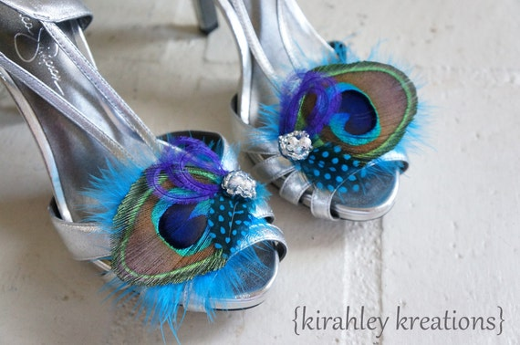 HYDIE - Natural Peacock Bride Bridal Bridesmaid Wedding Shoe Clips Teal Purple Feathers Silver Beaded Clusters or Rhinestones Customizeable