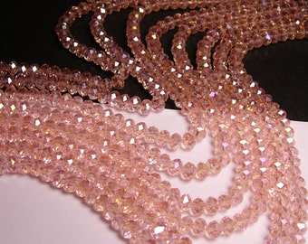 Crystal faceted rondelle - 72 pcs -  8 mm - AA quality - sparkle pink - ab - full strand - GSH8 -