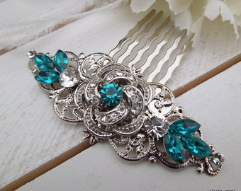 Bridal Blue Swarovski Crystal Wedding hair Comb Wedding Hair Accessories Vintage Style Blue Leaf Rhinestone Bridal Hair Comb ROSELANI