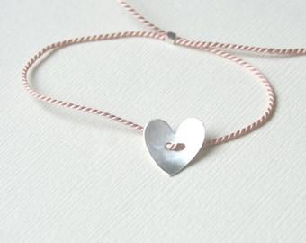 PInk silk thread bracelet with Sterling Silver heart - adjustable