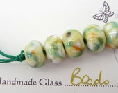Lemon Sorbet Fritties - Handmade Lampwork Beads - Set of 5  - FHFTeam