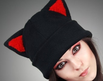 Black Cap Kitty Red Fur Hat CAT Animal Ears Beanie kawaii nerd cute