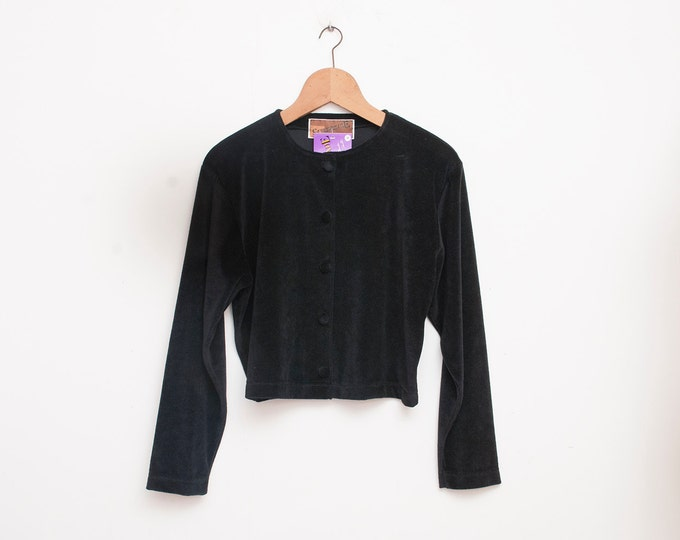 90s NOS vintage Crop jacket black velour