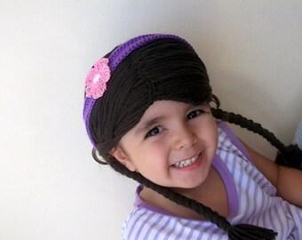 Dark Brown Doc Mcstuffin Inspired Baby Hat Baby Girl Halloween Costume Pageant Hair-Doc McStuffins Crochet Hat