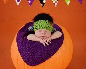 Frankenstein Newborn Hat/ Halloween Photo Prop Hat/ Halloween Newborn Prop/ Fall Newborn Hat