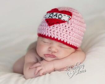 Love Dad Beanie in  Pink and Red/ Dad Beanie/ Love Beanie/ Valentines Newborn Hat