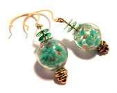 Handcrafted Costume Jewelry Green and Gold Foil Glass Bead Dangle Drop Earrings