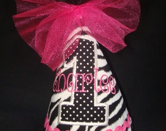 GIRLS PERSONALIZED Birthday Hat - 2nd Birthday Hat - 3rd Birthday Hat - Party Hat - Zebra Print and Hot Pink with appliqued number