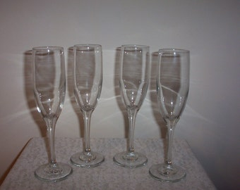 Set of Four Fluted Champane Glasses