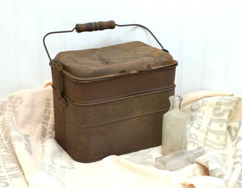 Primitive Tin Lunch Pail Rustic Miner S Dinner Bucket