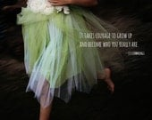 It Takes Courage Motivational Print, Romantic Home Decor with Typography Wall Quotes Delicate Flowers Green Tulle Child EE Cummings
