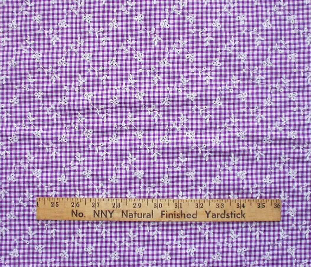 Cotton fabric purple gingham check with embroidery sewing