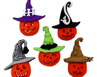 Jesse James Buttons Halloween Button Embellishments Jacks in Hats Jack O Lanterns Pumpkins