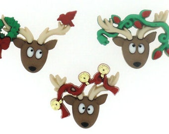 Jesse James Buttons Holiday Novelty Buttons Oh Deer Winterfest Christmas Holiday Reindeer Whimsical Comcal