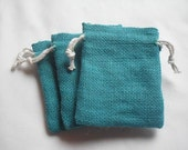 "50 Turquoise Blue Burlap bags 3"" X 4"" for candles handmade soap wedding"
