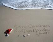 Custom Christmas Card Beach Greetings with a Santa Hat Photo