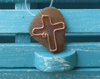 Brown  Sea Glass Copper Hand Wire Wrapped Cross Necklace Pendant