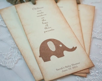 Elephant Bookmarks Baby Shower Favors Neutral You Choose Ribbon Color Set of 10