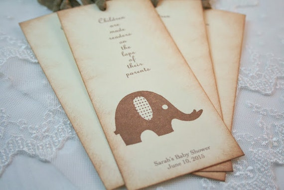 Baby Shower Favors Bookmarks ~ Elephant bookmarks baby shower favors by seasonaldelightsbaby