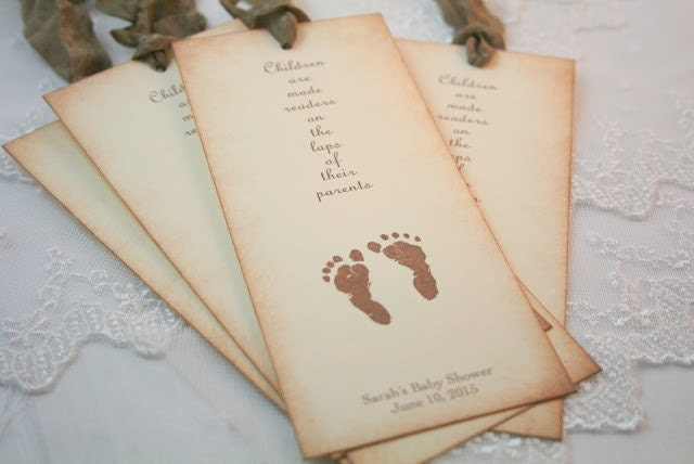 Baby Shower Favors Bookmarks ~ Baby shower bookmark favors neutral footprints personalized