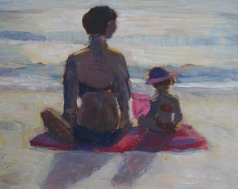 Original Plein Air Painting Mother And Child