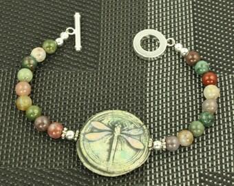 Pink  Blue Green Dragonfly Signed Organic Bangle Bracelet OOAK