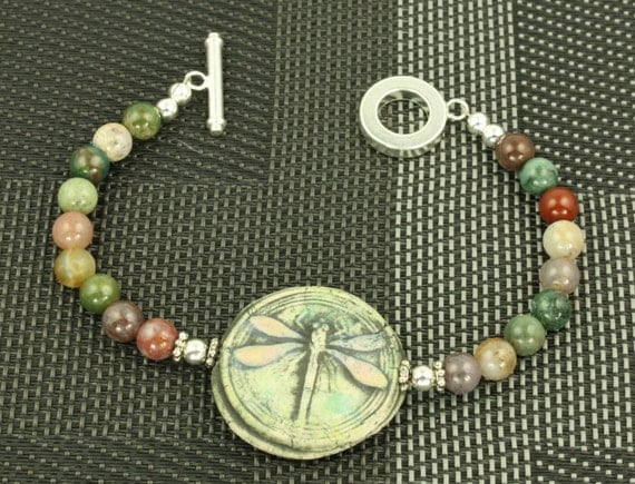 Pink  Blue Green Dragonfly Signed Organic Bangle Bracelet OOAK