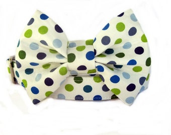 Polka Dot Bow Tie Dog Collar  with Nickel Hardware - Cape Cod Dots Navy Blue Green White